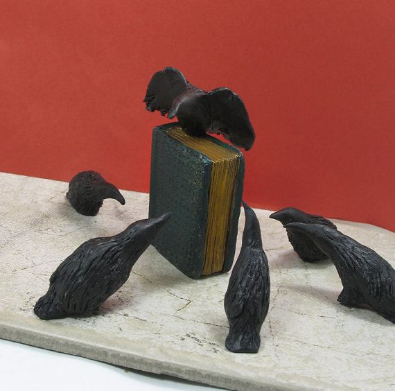 Download A Storytelling of Ravens - 6 miniature Handmade Raven Figures and Book   Black bird, Raven, Crow