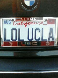 alumni of usc is not a ucla fan california license plate