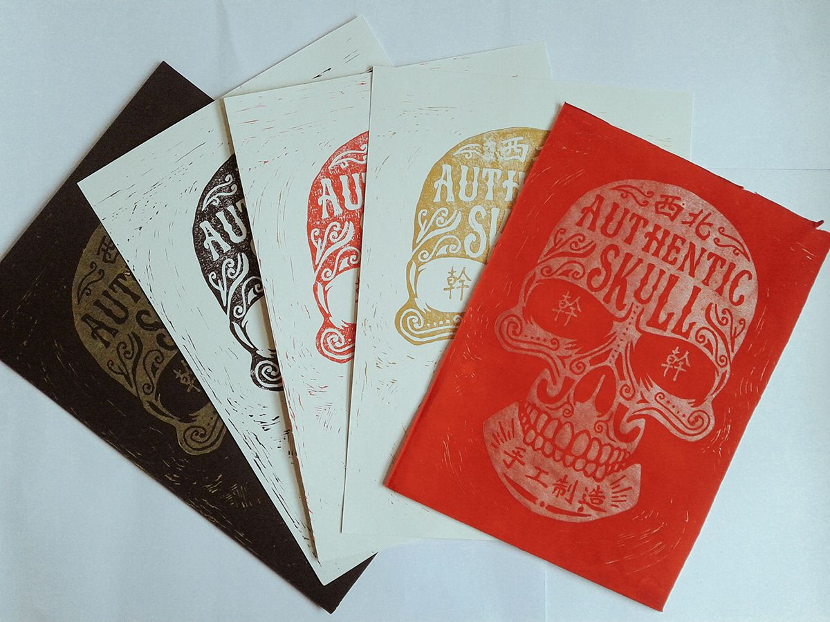 betype:     Asian Calavera - Linocut Printmaking... - Monster Eats Design