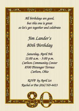 Nostalgic 80th Birthday Invitations