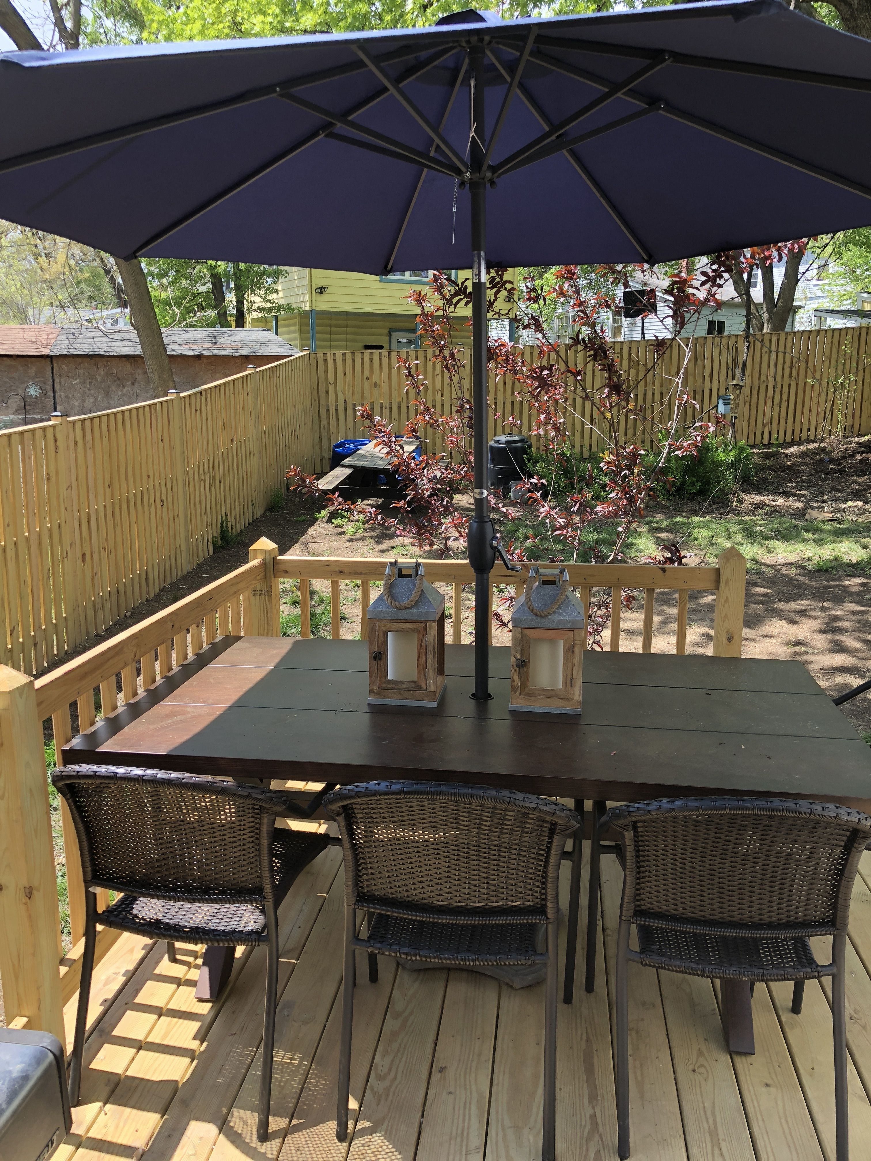 New outdoor table from lowes. It is Atworth metal wood ...