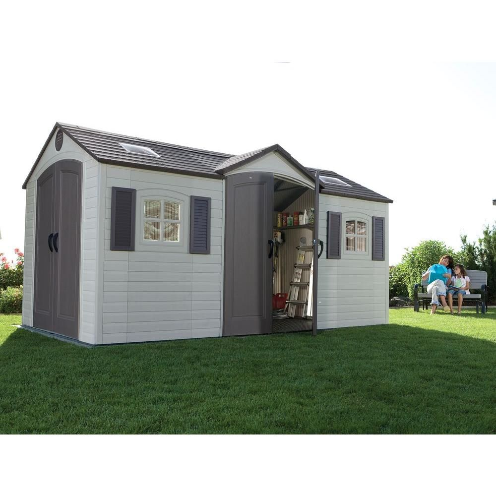 double door storage shed
