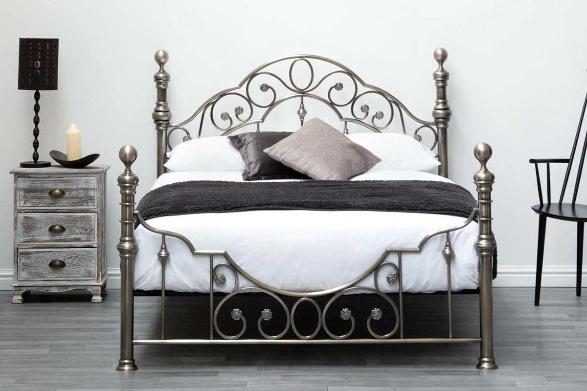 Canterbury Vintage Antique Brass Metal Bed Frame - Double / King Size