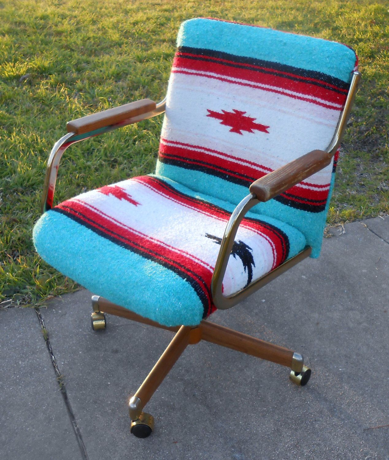 swivel chair in spanish twin sleeper leather 1980s office rolling furniture mexican serape