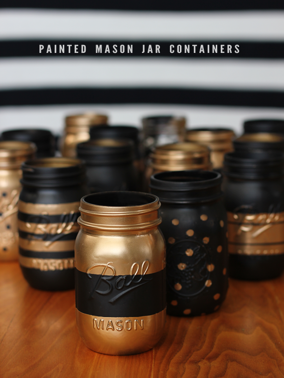 DIY Patterned Mason Jar Containers // Bubby and Bean. Would be really cute for a Theta-themed basket, recruitment craft or centerpieces for a reunion party.