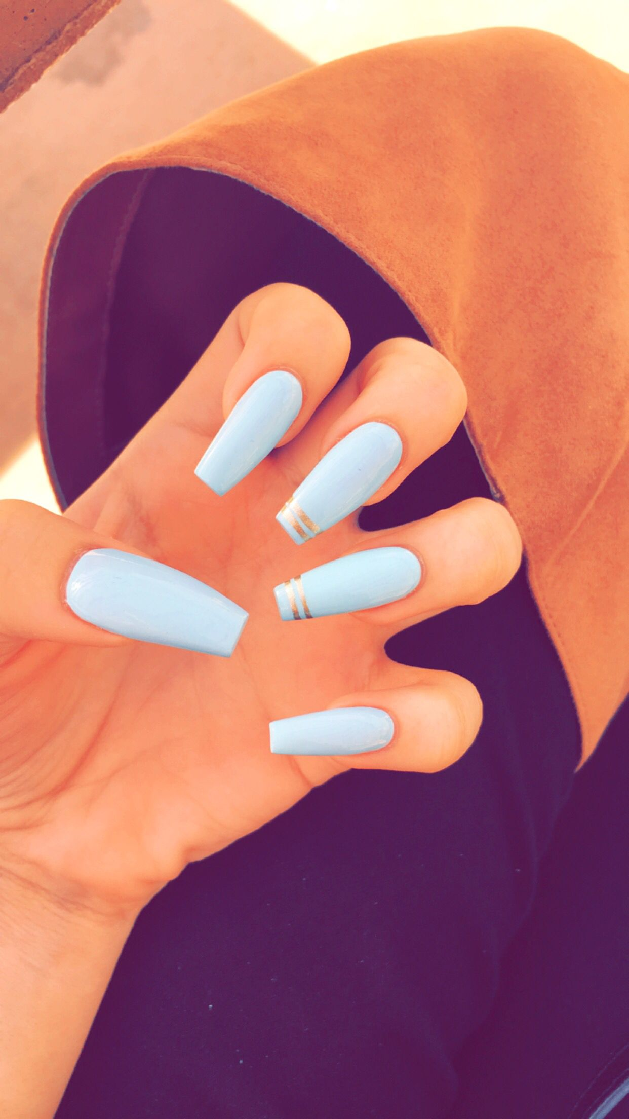 Coffin Baby Blue Cuffin Nails Baby Blue Nails Blue Coffin Nails