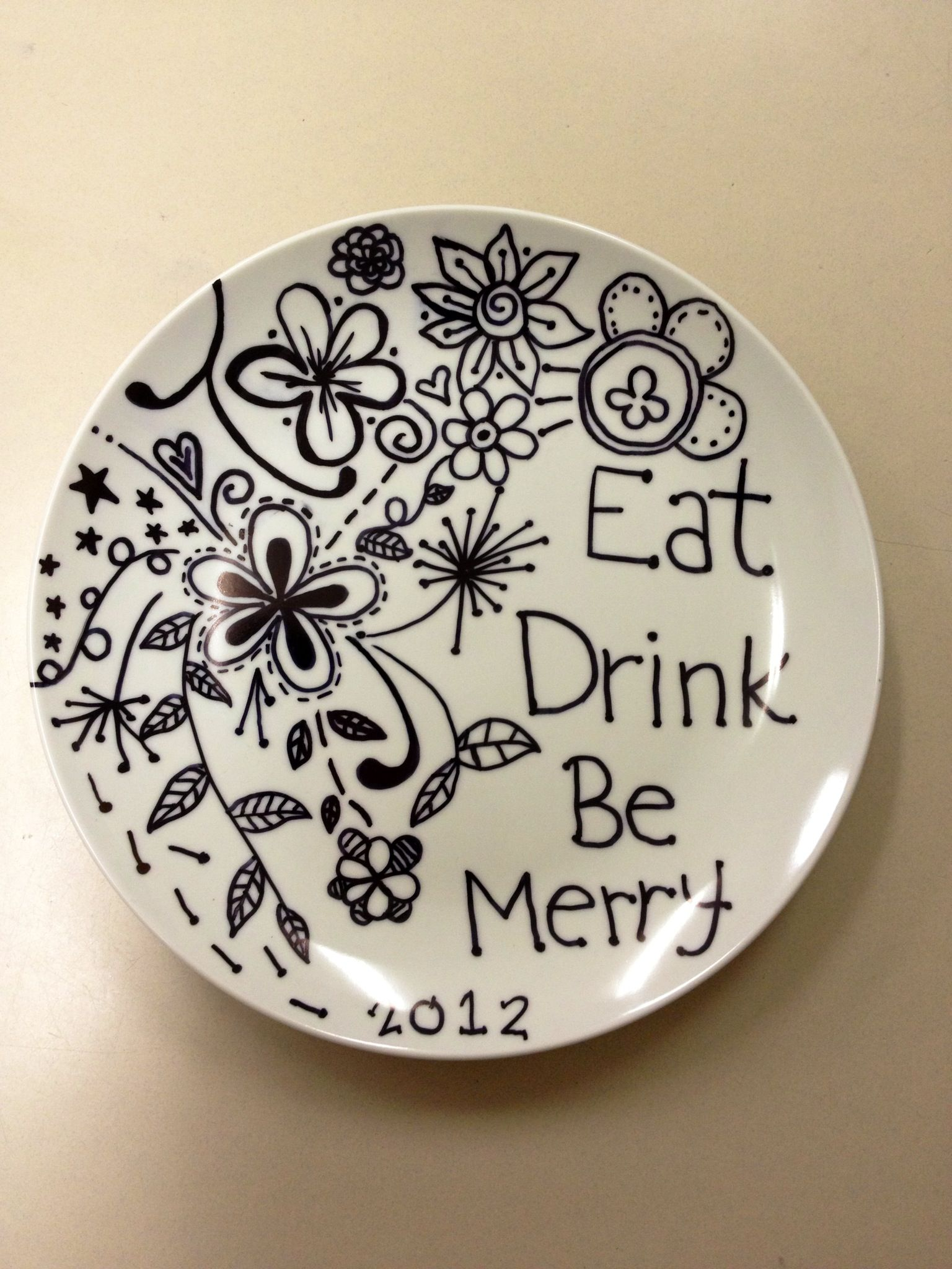 Plate from the dollar store decorated with a black sharpie and baked in the oven & Plate from the dollar store decorated with a black sharpie and ...