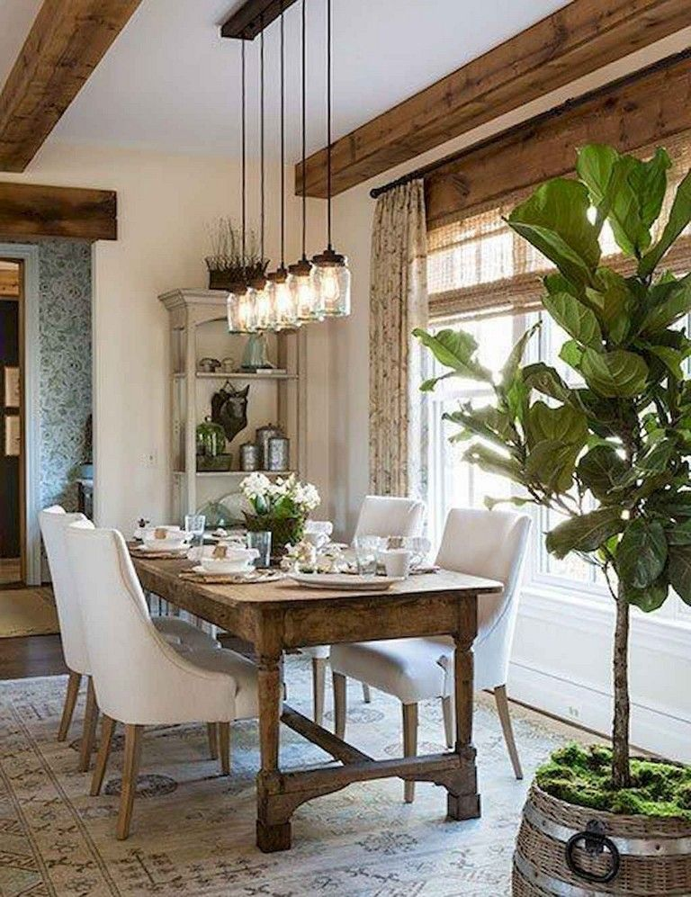 53+ Cool Farmhouse Style Dining Room Table and Decor Ideas images