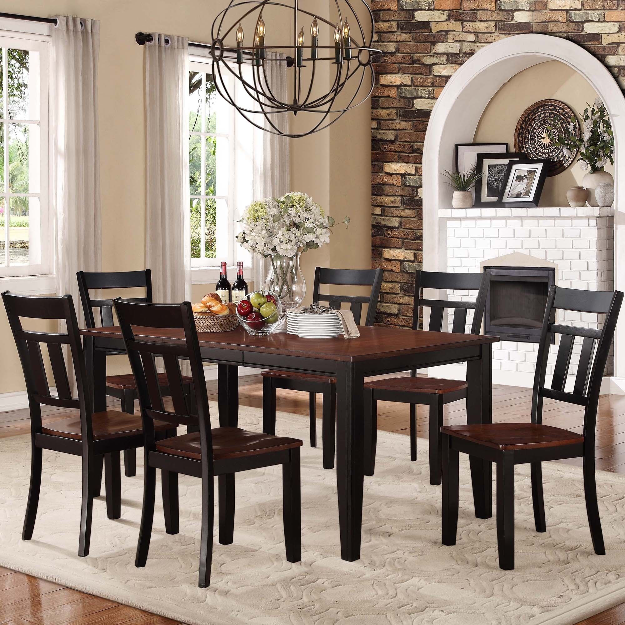 Versatile Kitchen Table And Chair Sets For Your Home: TRIBECCA HOME Eli Rustic Two-tone Mission Extending Dining