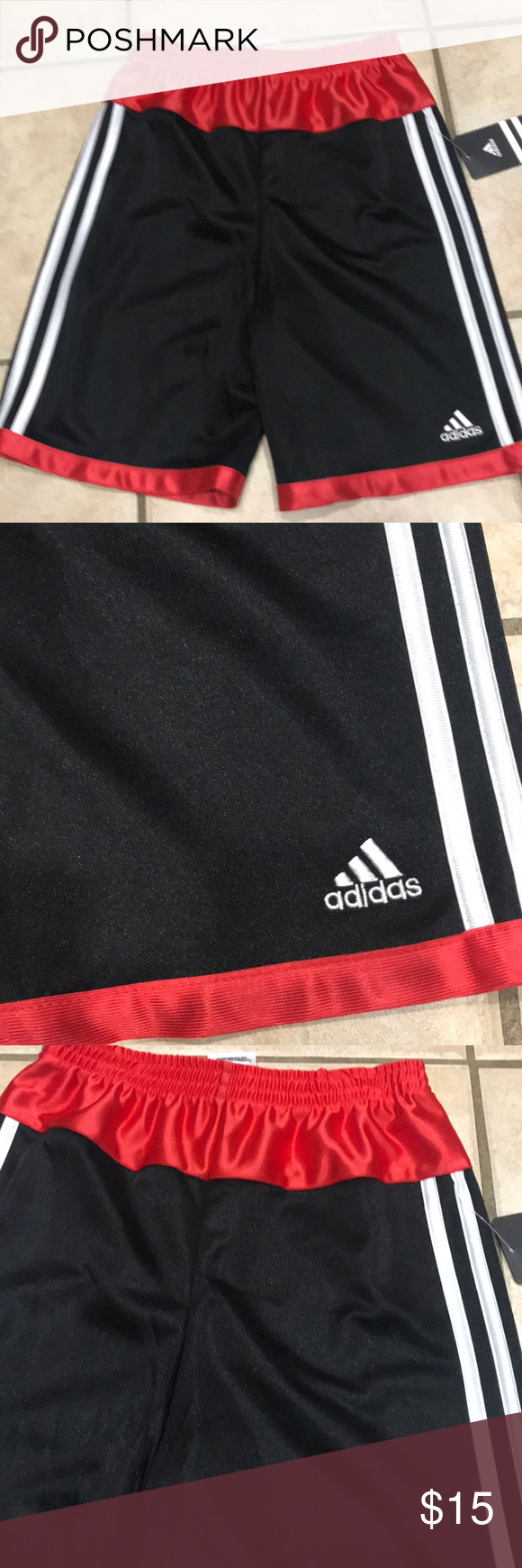 da23010fc New boys kids Adidas Black red shorts size 7 x New size 7 x NO TRADE adidas  Bottoms Shorts