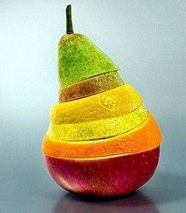 Food art - colorful!  Apple, Orange, Pear, Lemon, ?!, Pear