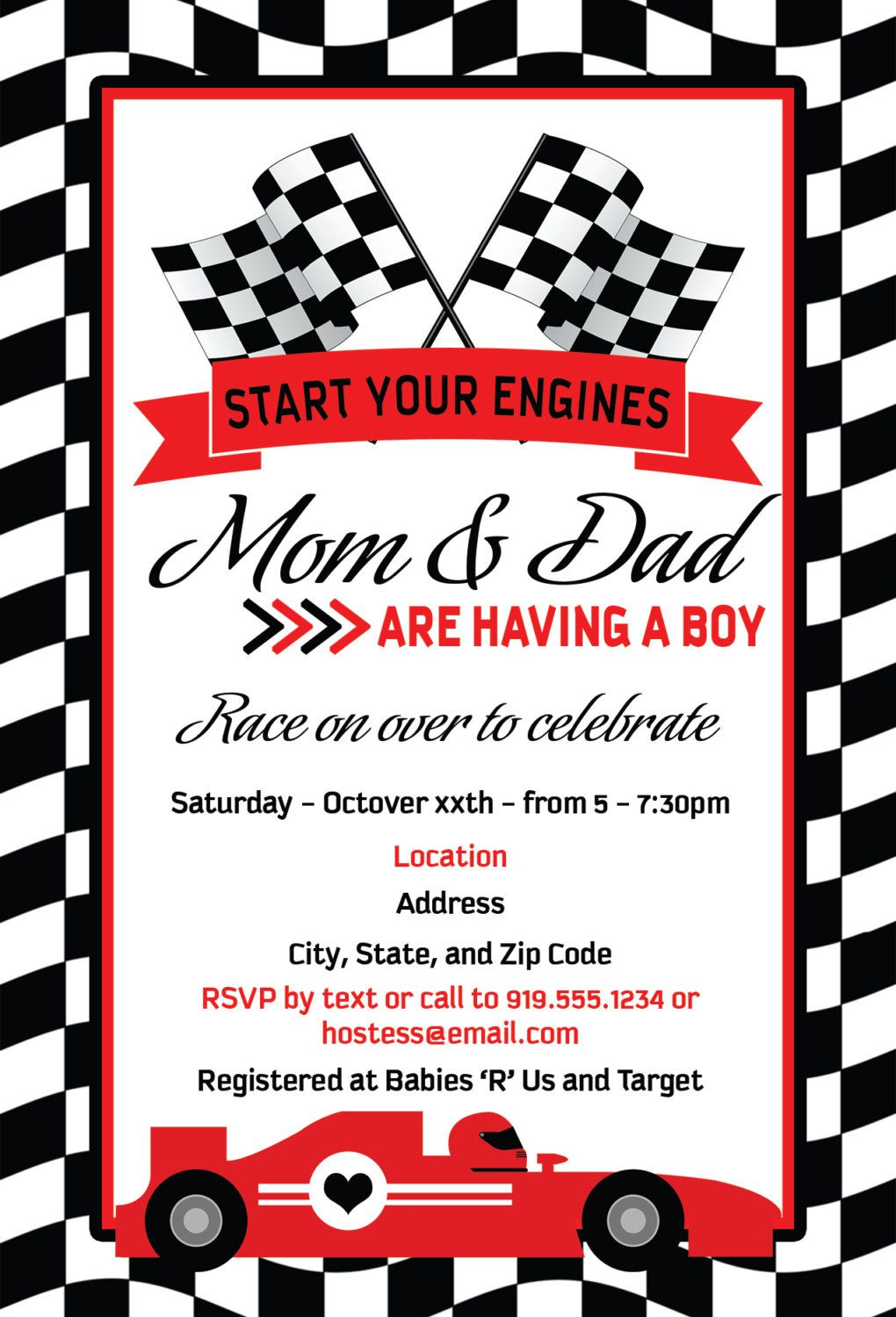 Start Your Engines Baby Shower | Baby Shower Invites | Pinterest ...