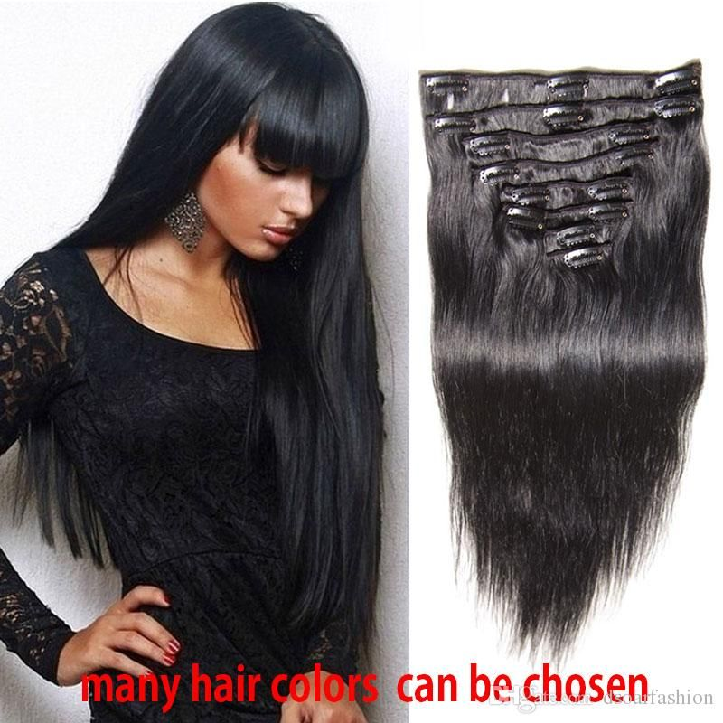 Brazilian Clip In Human Hair Extensions Black Clip Ins Remy Virgin