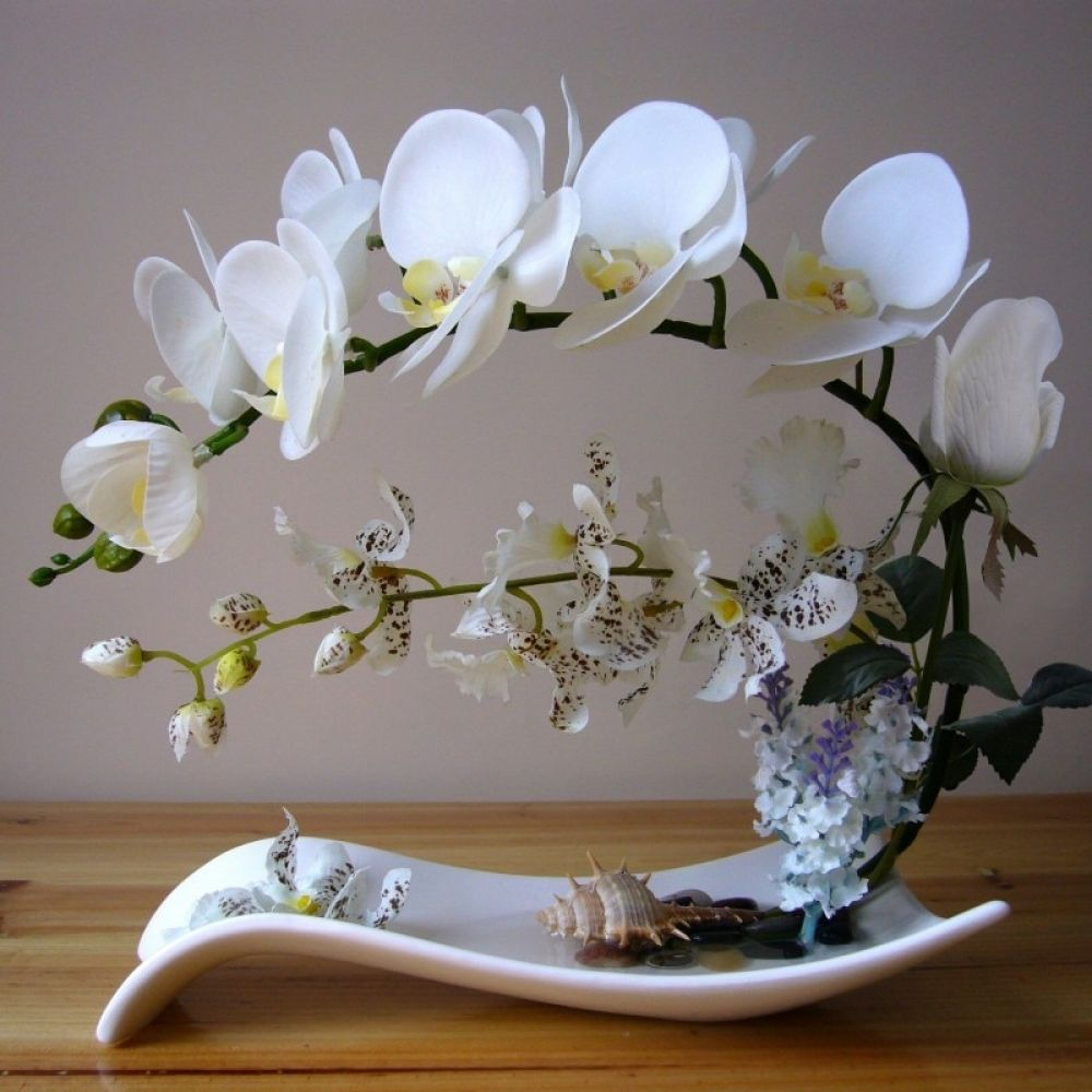 Butterfly Orchid Artificial Flowers Set Fake Flower Ceramic Vase Ornament Phalaenopsis Figurine Home Furnishing Decoration Craft Www Anything Go Com Orchid Flower Arrangements Artificial Flower Arrangements Orchid Arrangements
