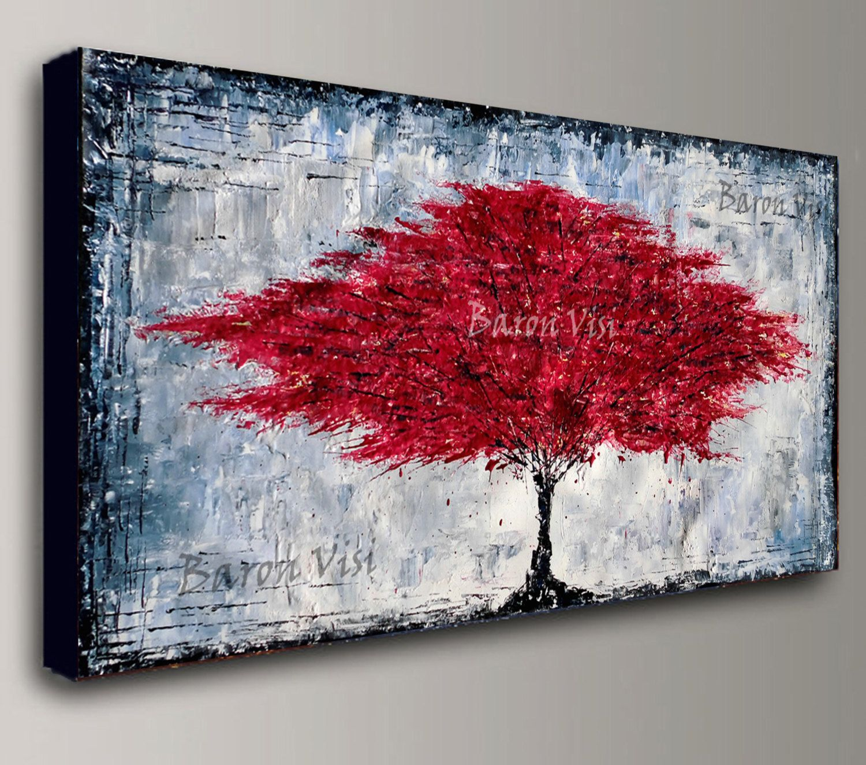 Abstract Painting Acrylic Tree Green Wall Art Tree Home Office Etsy Red Abstract Painting Abstract Painting Acrylic Abstract Canvas Painting