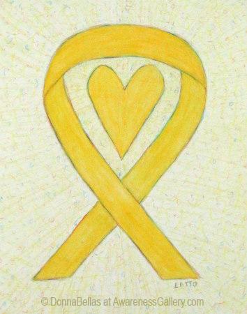 Heart Yellow Awareness Ribbon Watercolor Illustration Awareness Ribbons Heart Awareness Ribbon Awareness Ribbons Colors