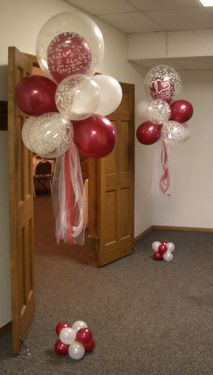 Floating Balloon Clouds In Red And White With Matching Anchors