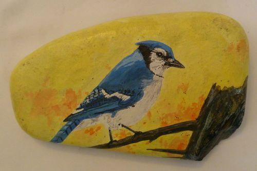 Stunning Blue Jay Handpainted Rock | eBay