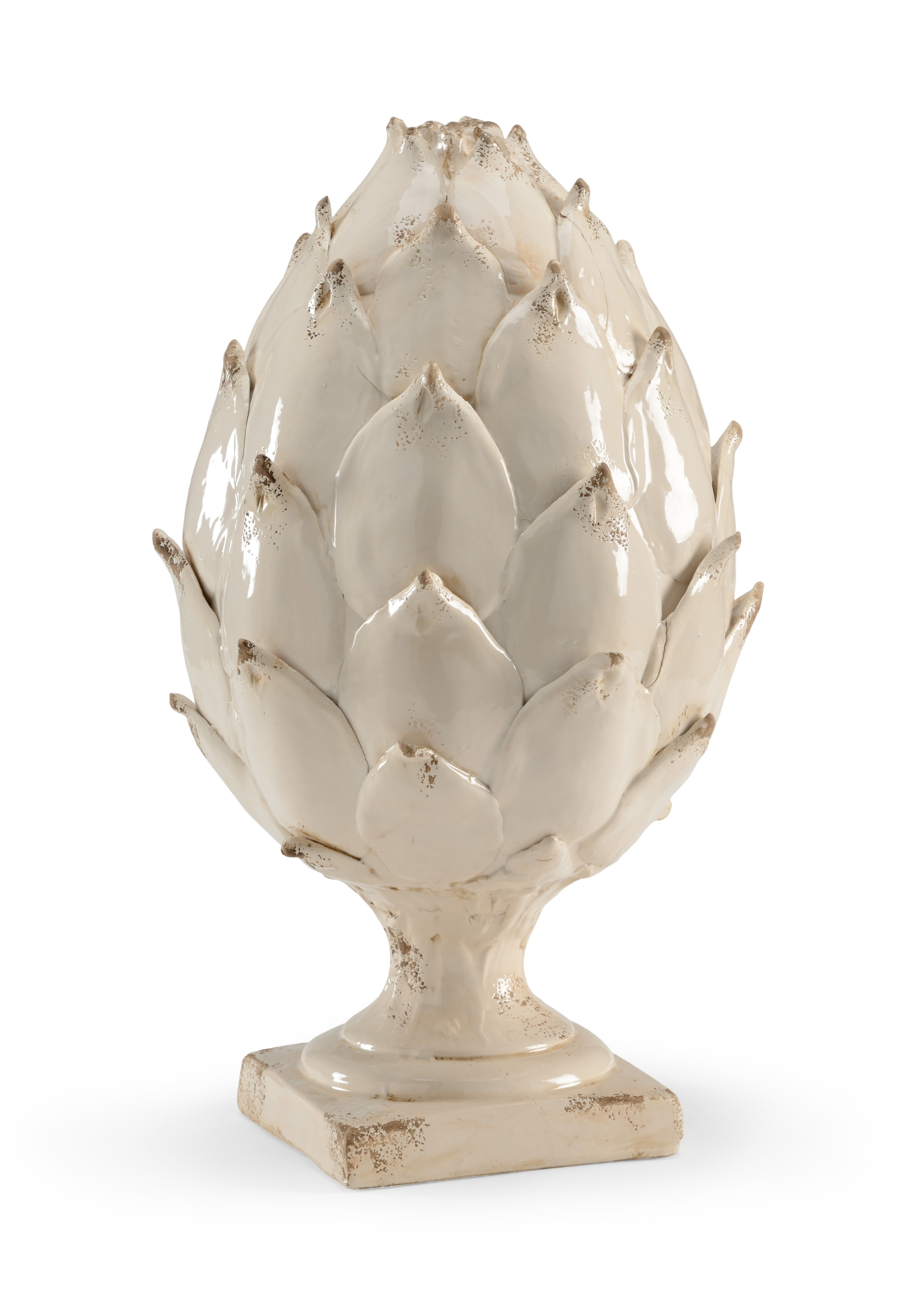 large antique white glaze ceramic artichoke statue decorate