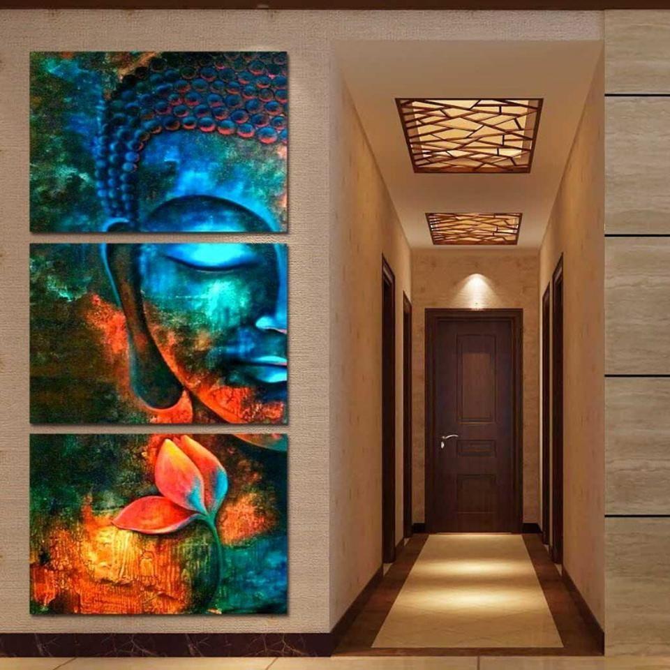 turquoise buddha buddha wall art buddha painting 3 on canvas wall art id=92788