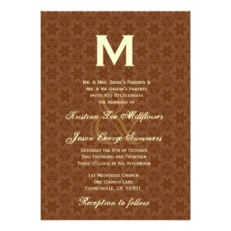 BROWN - The example shown is a Chocolate and Cream Monogram Wedding Invitation. Browse this and more brown and peach  themed invitations.