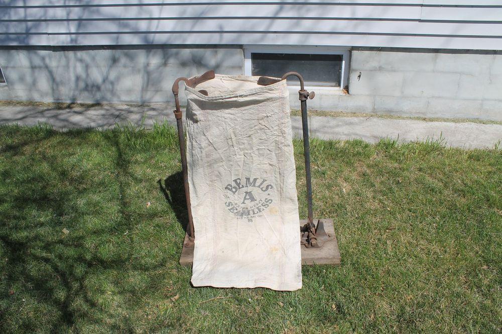 Antique Feed Seed Sack Holder Vintage Bag Holder Metal Farm Tool Cast Decor Antiques Farm Tools Bag Holder