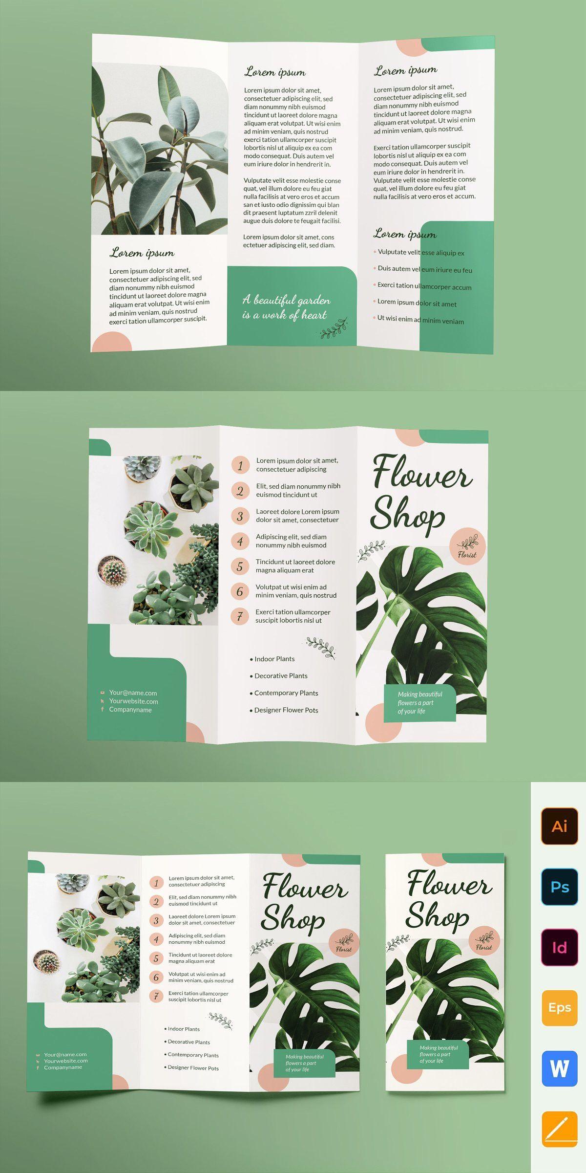 Flower Shop Brochure Trifold Brochure Design Creative Graphic Design Brochure Brochure Design Layout