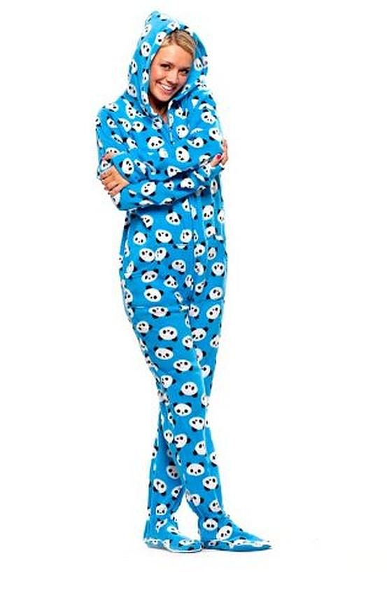 537eda6777 Womens Blue Panda Hooded Onesie in 2019