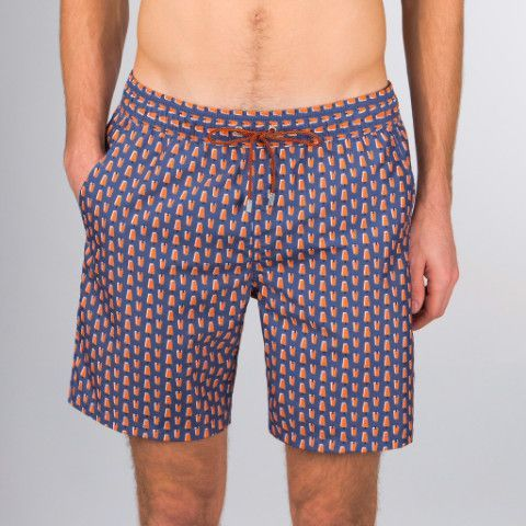 Night Blue Bugatchi Creamsicle Print Swim Trunks