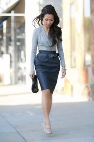 Love her hair and the skirt