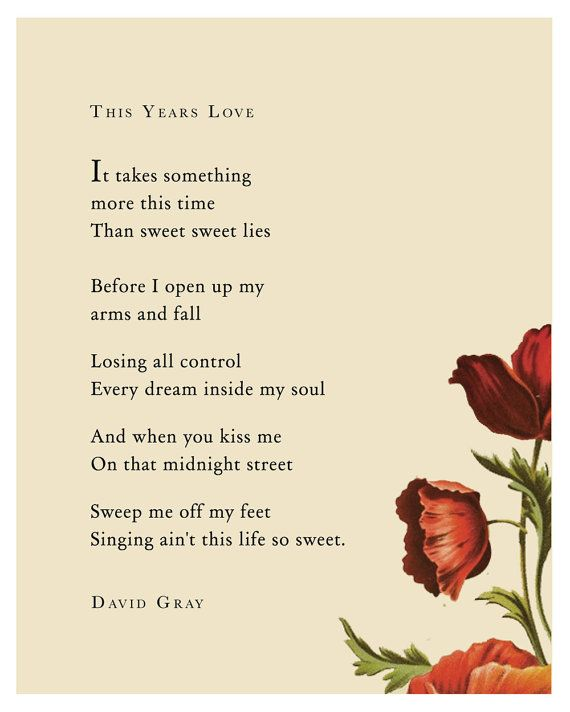 Poetry Art Song Lyrics Print By David Gray By