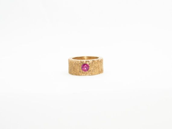 Chunky Gold Vermeil ring with Pink CZ, tree bark texture, Valentines Gift, for her, Valentines Present
