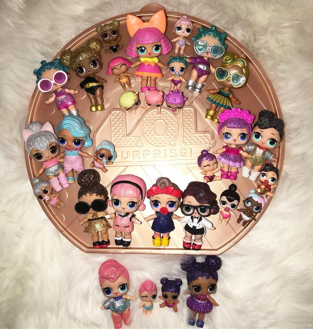 Heres Our Ultra Rare And Rare Dolls From Series 1 Series 2 Series 3 And Glitter Series And Big Surprise Only Missing 3 Loldo Lol Dolls Cute Toys Cool Toys
