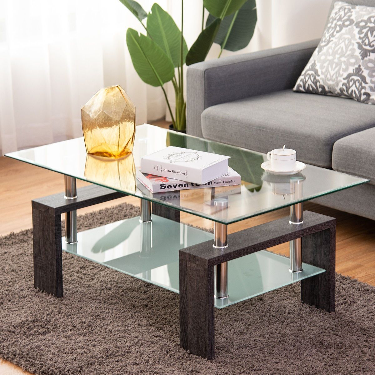 Rectangular Tempered Glass Coffee Table With Shelf Rectangular Glass Coffee Table Coffee Table Wood Furniture Living Room [ 1200 x 1200 Pixel ]