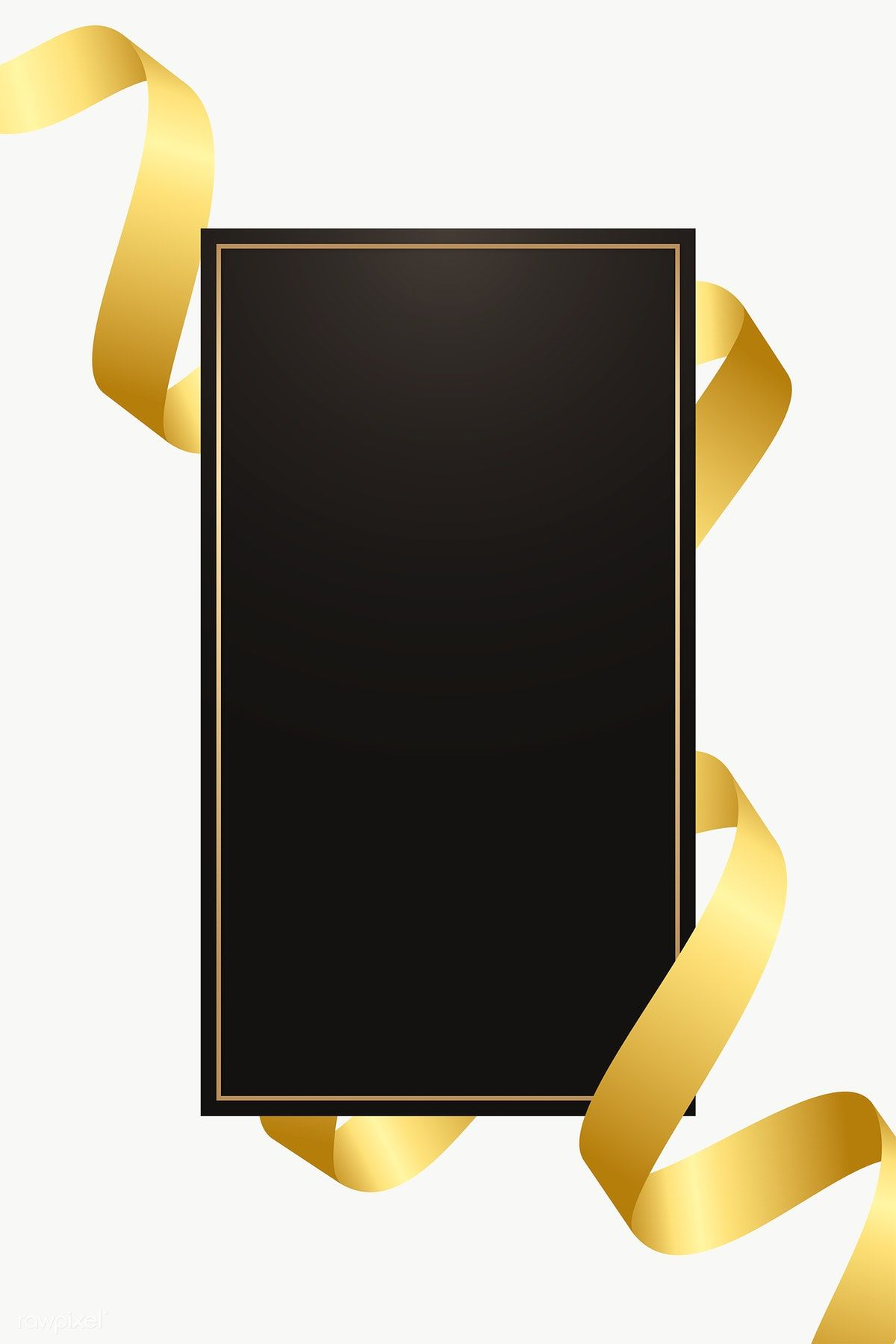 Black Rectangle Frame With Gold Ribbon Transparent Png Premium Image By Rawpixel Com Kappy Kappy Gold And Black Background Gold Ribbons Black Rectangle