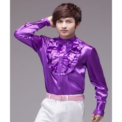 Purple Ruffle Long Sleeve Button Down Wedding Prom Dress Shirt Men ...