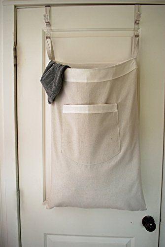 Hanging Hamper Laundry Bag Drawstring Bag With Shoulder Strap Canvas White Trim With Images Canvas Laundry Hamper Travel Storage Drawstring Bag