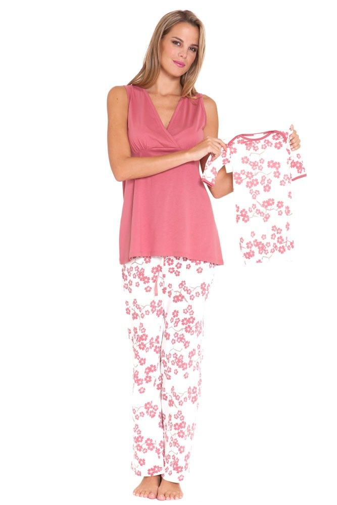 021c123ca40 Nursing PJ Set with Baby Outfit and Gift Box in Pink Floral by Olian with  free shipping