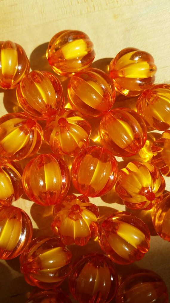 20mm Orange Acrylic Pumpkin Bead by OpheliaRoseSupplies on Etsy