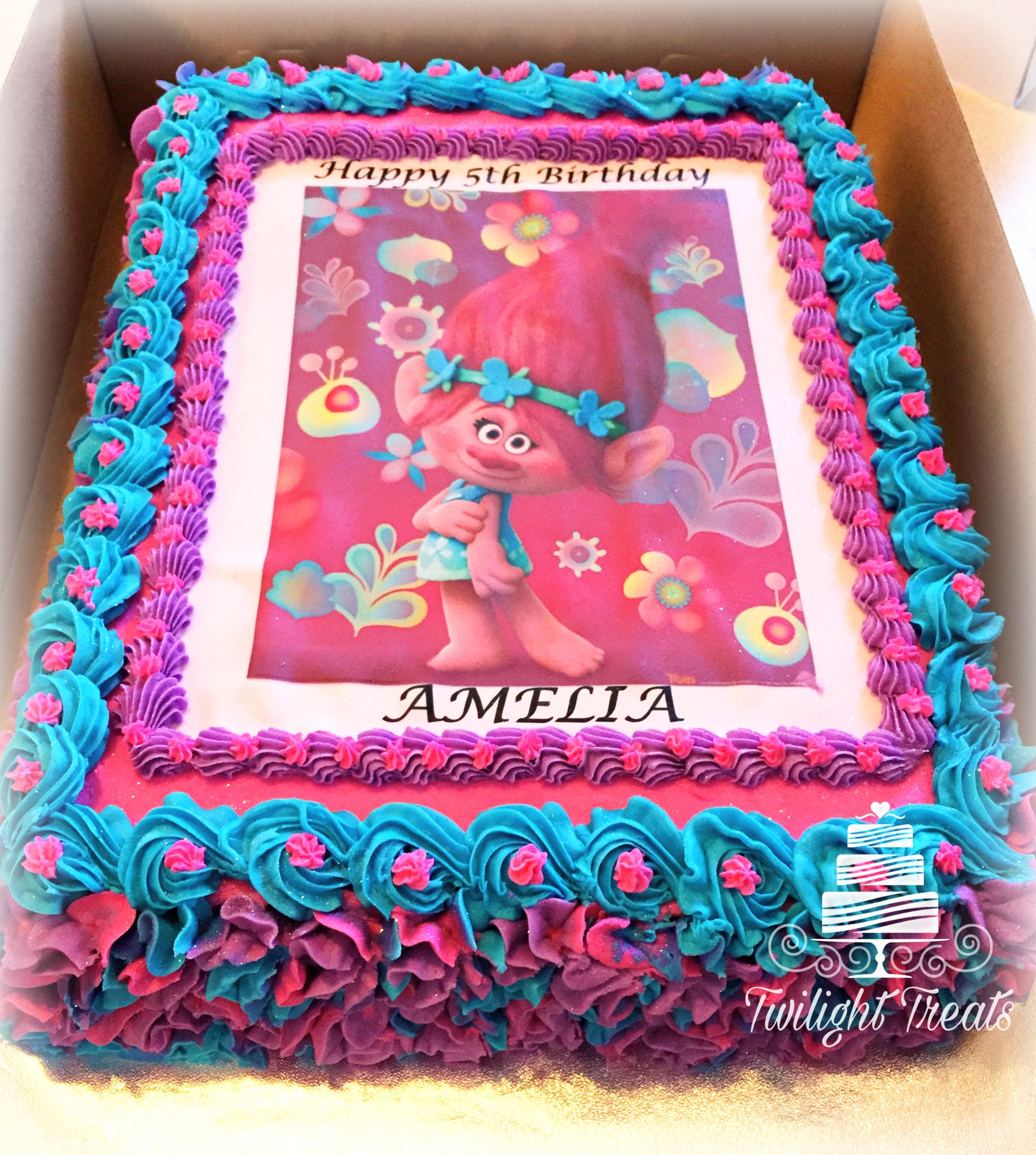 Poppy Troll Themed Cake With Edible Print And Buttercream