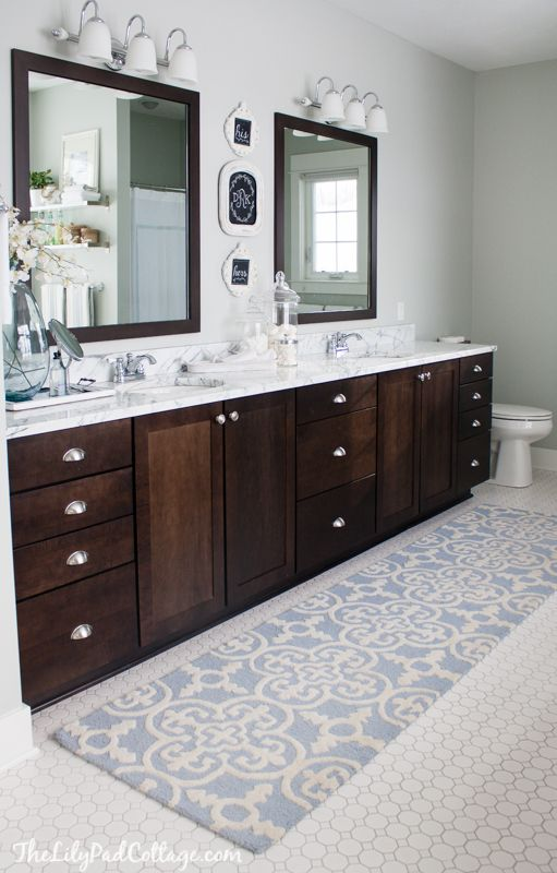 Lake House Master Bath Makeover Master Bathrooms Masters And - Bathroom runner mats for bathroom decorating ideas