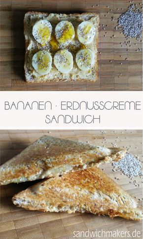 Süßes Sandwich mit Chiasamen, Banane und Erdnusscreme. Süße Alternative zu den normalen Sandwichmaker Rezepten.