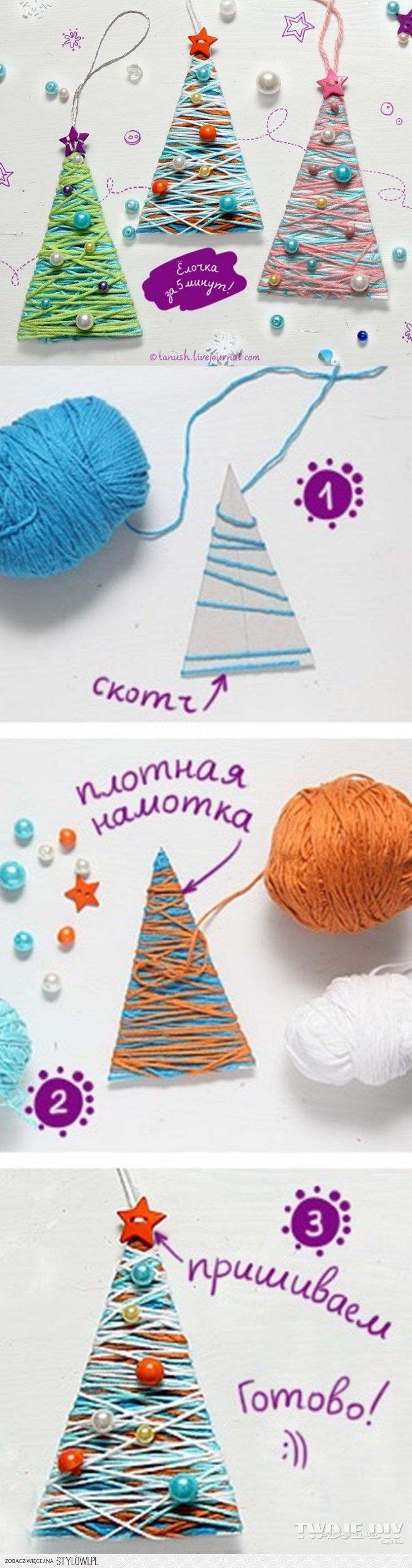 Zawieszki choineczki (Coloured Christmas Trees) - Simple and beautiful DIY decorations using yarn/wool.