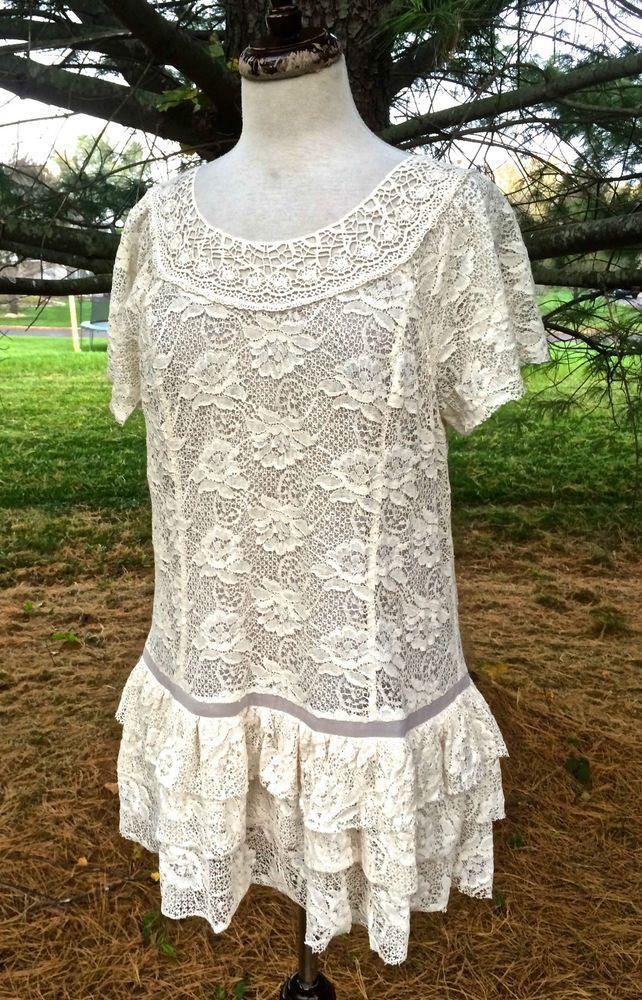 Sundance Catalog ivory lace ruffled tunic top dress tiered ruffle hem NWT M $128 #SundanceCatalog #tunictop #Casual