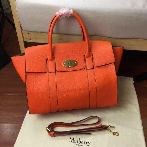 b59f34b550b9 2017 New Mulberry Bayswater with Strap Bright Orange Grain Leather ...