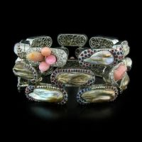 Nicholas Varney Brick Bracelet with Fresh Water and Conch Pearls