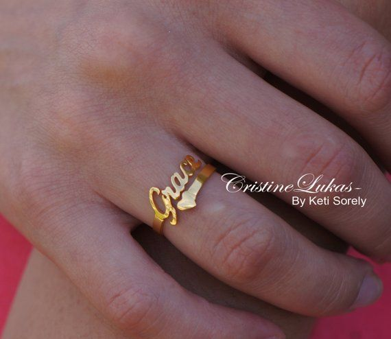 Order Any Name - 10K14K Rose Gold 14K GoldFilled or Sterling Silver and Rose Gold overlay. Designer Personalized Initials Ring