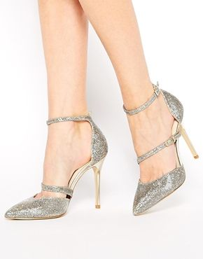 0878369199 Karen Millen Gold Glitter Heeled Court Shoes | Shoes | Glitter heels ...