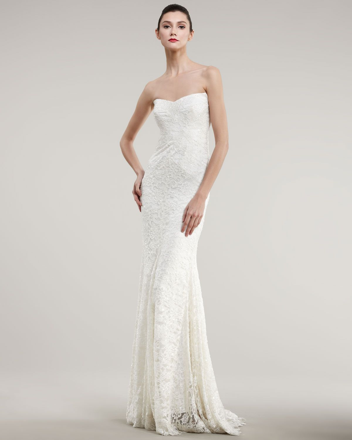 Neiman marcus dresses for weddings  Nicole Miller Strapless Lace Bias Gown  Neiman Marcus  Wedded
