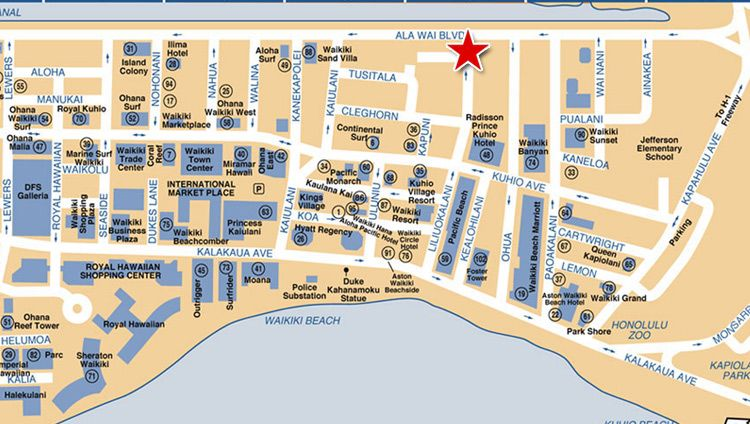 Map of Downtown Waikiki Waikiki Beach Honolulu Hawaii Yahoo